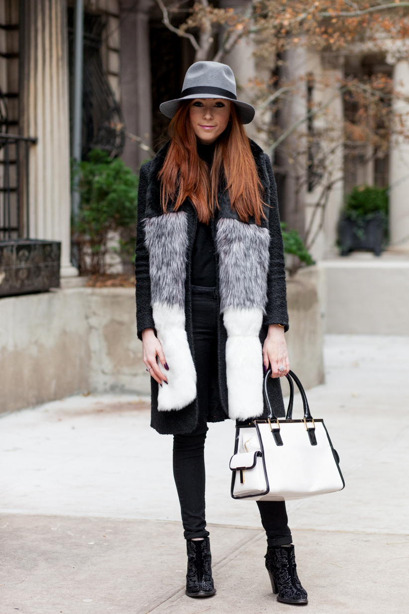Grey Day - Faux Fur Stole - Retro Flame