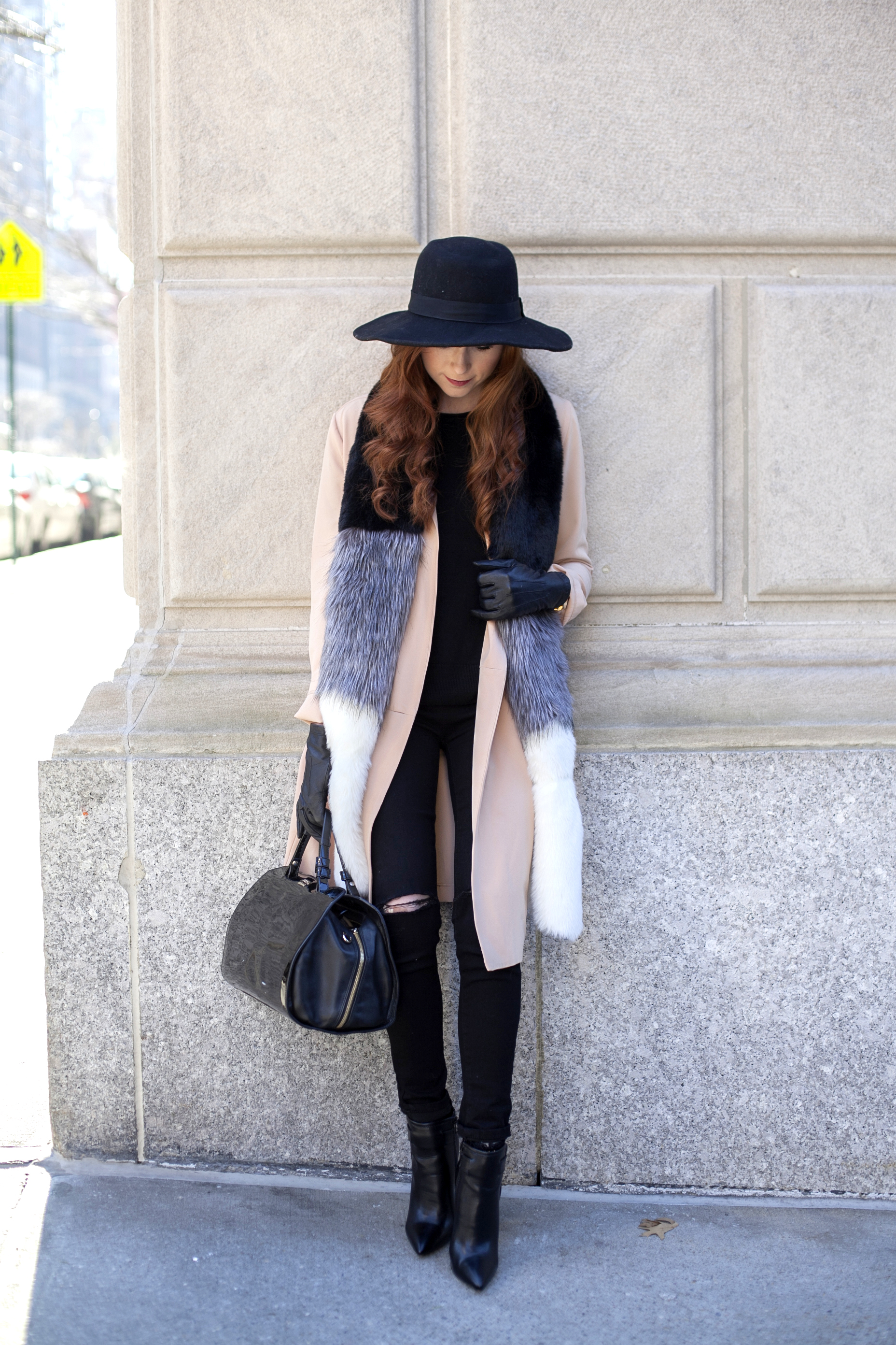 Winter Layering - Faux Fur Stole - NYC Winter Style