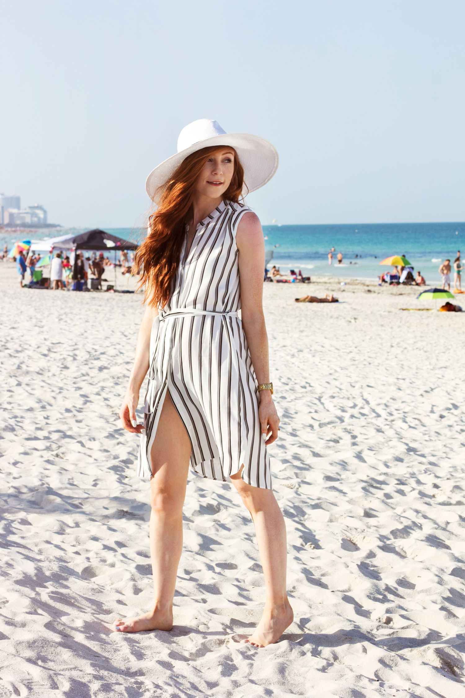 Beach Stripes in Miami - Stripe Shirt Dress - South Pointe Pier