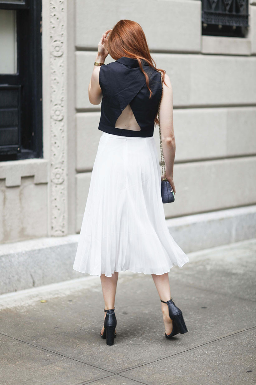 White Pleated Skirt - Black Heels