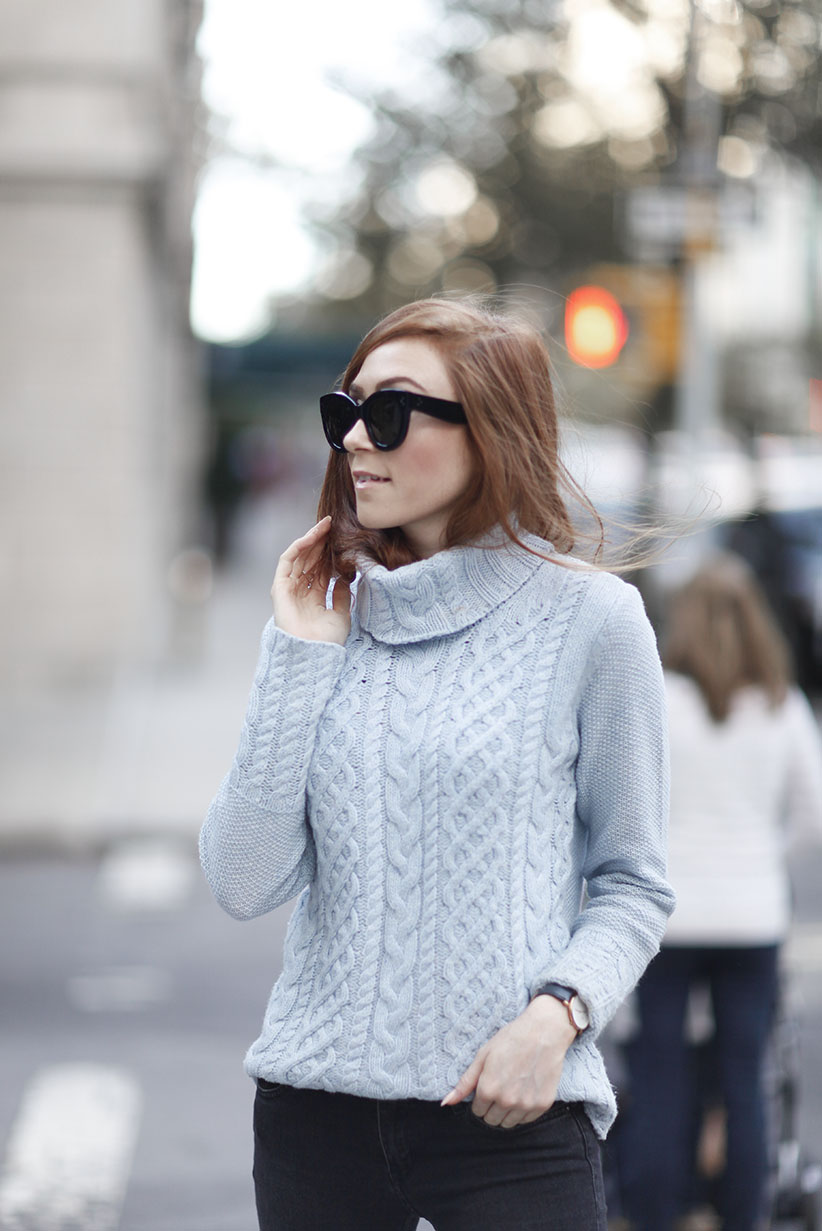 Baby Blue Turtle Neck - The Sweater Shop - Aran Sweater