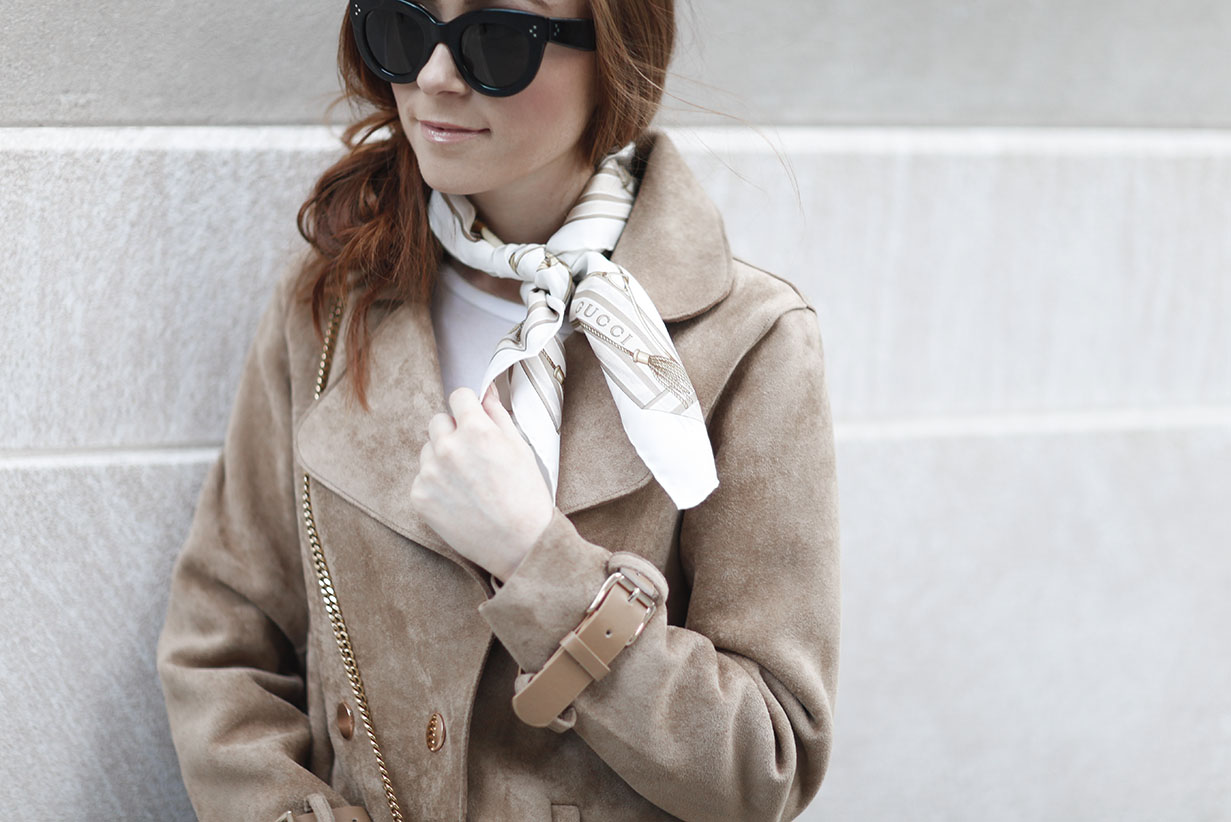 Suede Jacket - Gucci Scarf - New York Style