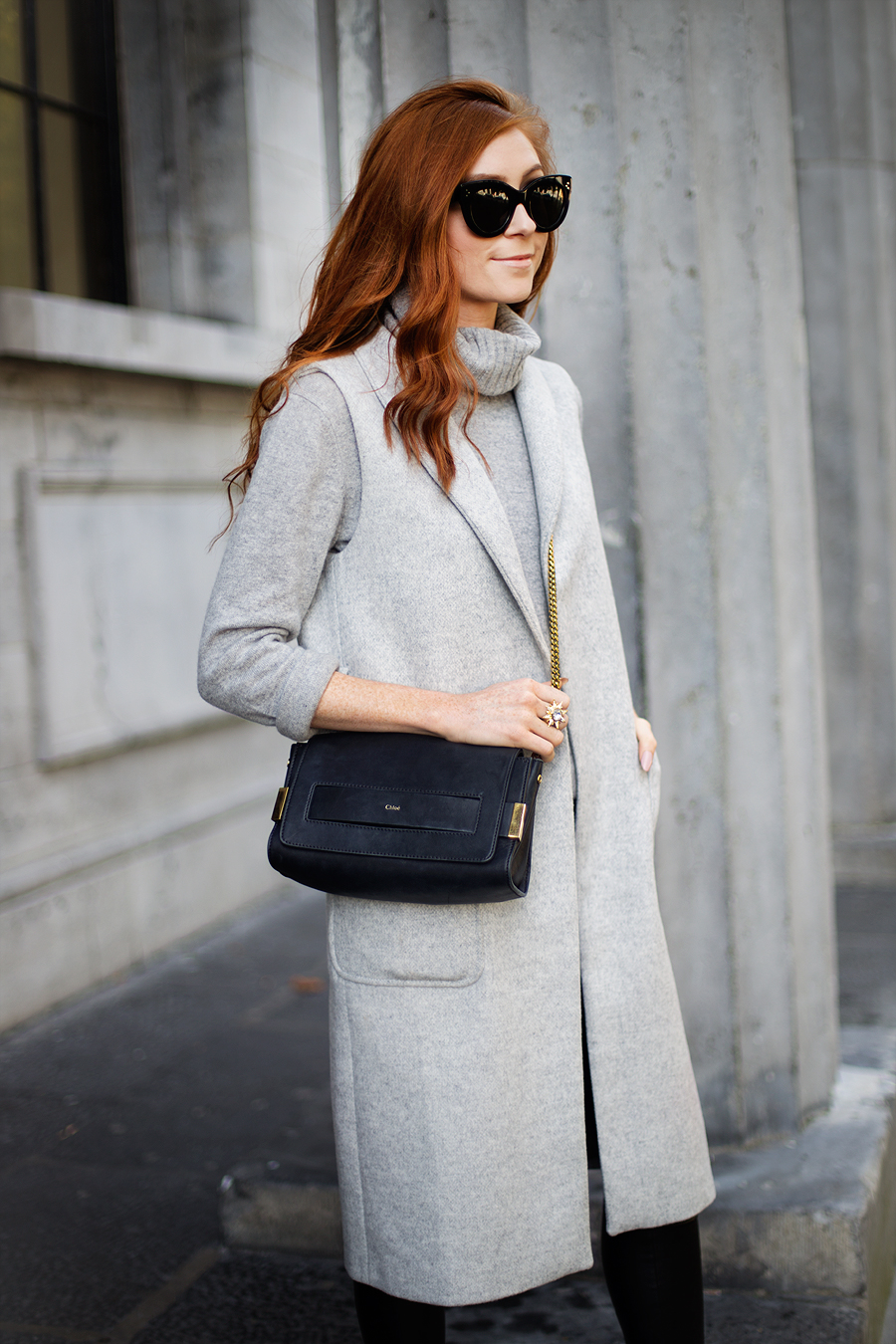 Grey Sleeveless Coat - Leather Leggings - REISS